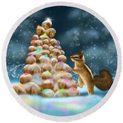 Round Beach Towel featuring the painting A Perfect Christmas Tree by Veronica Minozzi