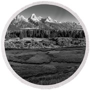 A Perfect Frosty Morning In Grey Scale Round Beach Towel