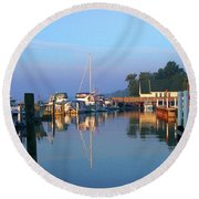 A Perfect Tawas Morning Round Beach Towel