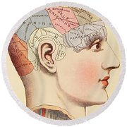 A Phrenological Map Of The Human Brain Round Beach Towel