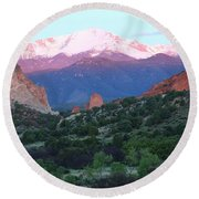 A Pikes Peak Sunrise Round Beach Towel