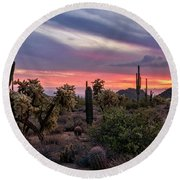 Round Beach Towel featuring the photograph A Pink Kissed Desert Sunset  by Saija Lehtonen