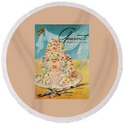 A Pink Wedding Cake And Ceremonial Silver Cutting Round Beach Towel