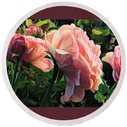A Place In The Sun - Roses In Spring Round Beach Towel