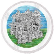 House Of Secrets Round Beach Towel