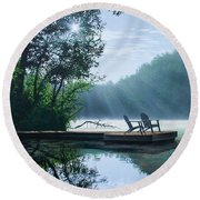 A Place To Ponder Round Beach Towel