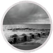 A Platinum Sea Round Beach Towel by Skip Willits