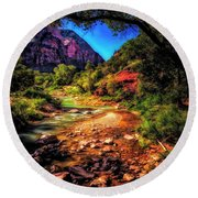 A Pleasant Place ... Round Beach Towel