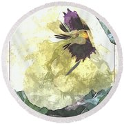 A Pop Of Pansy Round Beach Towel