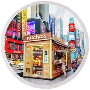 A Portable Food Stand In New York Times Square Round Beach Towel