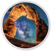 A Portal To The Milky Way At Delicate Arch Round Beach Towel