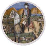 A Portrait Of Napoleon On Horseback Round Beach Towel
