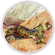 A Portrait Of Sarah Bernhardt, Reclining In A Chinese Interior  Round Beach Towel