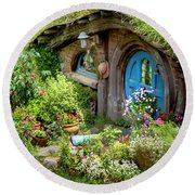 A Pretty Hobbit Hole Round Beach Towel