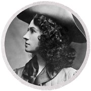 A Profile Portrait Of Sharpshooter Annie Oakley Round Beach Towel