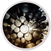 A Question Of Perspective On Sibelius Monument Round Beach Towel