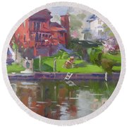 A Quiet Afternoon By The Canal Round Beach Towel