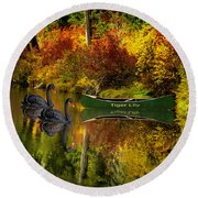 Round Beach Towel featuring the photograph A Quiet Autumn Evening by Diane Schuster