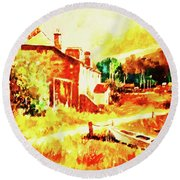 A Quiet Fishing Village Round Beach Towel