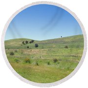 Round Beach Towel featuring the photograph A Quiet Interlude by Linda Lees