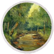 Round Beach Towel featuring the painting A Quiet Place by Gail Kirtz