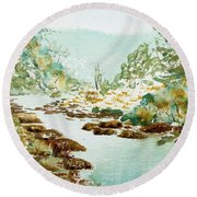 A Quiet Stream In Tasmania Round Beach Towel