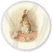 Round Beach Towel featuring the painting A Rabbit's Tea Party by Beatrix Potter
