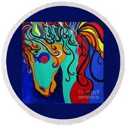 Round Beach Towel featuring the painting A Rainbow Called Romeo by Alison Caltrider