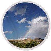 A Rainbow In Salt Lake City Round Beach Towel by Rona Black