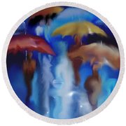 A Rainy Day In Paris Round Beach Towel