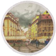 A Rainy Day In Prague Round Beach Towel