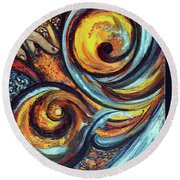 Round Beach Towel featuring the painting A Ray Of Hope by Harsh Malik