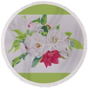 A Rose Bouquet Round Beach Towel by Hilda and Jose Garrancho