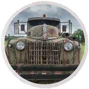 Round Beach Towel featuring the photograph A Really Rusty Ford by Guy Whiteley