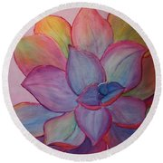 Round Beach Towel featuring the painting A Reason For Being by Sandi Whetzel