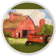 A Red Barn Round Beach Towel by Rand Swift