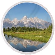 A Reflection Of The Tetons Round Beach Towel