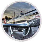 A Reflective Mustang Round Beach Towel by David Collins
