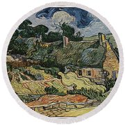 Round Beach Towel featuring the digital art a replica of the landscape of Van Gogh by Pemaro