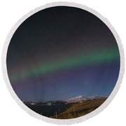 A Ribbon Of Northern Lights Round Beach Towel