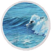 A Ride On Steamer Lane Round Beach Towel