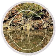A Ring On The Pond In Fall Round Beach Towel