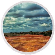 Round Beach Towel featuring the photograph A River Of Red Sand by Diana Mary Sharpton