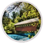 Round Beach Towel featuring the photograph A River Runs Through It by Joel Witmeyer
