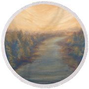 A River's Edge Round Beach Towel by T Fry-Green