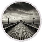 A Romantic Walk To The Past Round Beach Towel