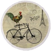 A Rooster In Paris Round Beach Towel