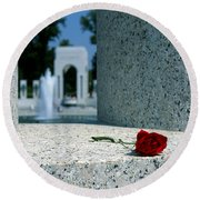 A Rose Memento At The World War II Memorial In Washington Dc Round Beach Towel