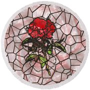 A Rose On Stained Glass Round Beach Towel