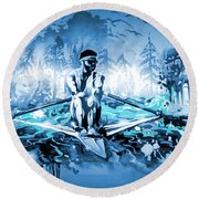 Round Beach Towel featuring the painting A Rower's Fantasy by Hanne Lore Koehler